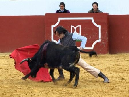 Javier Solís, enseñando a embestir al animal.