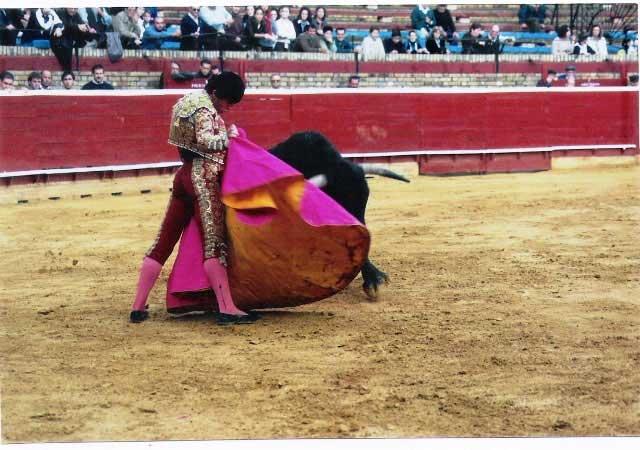 Lanceando a la verónica en una novillada con picadores en la plaza de Huelva. (FOTO: Cedida por el torero)