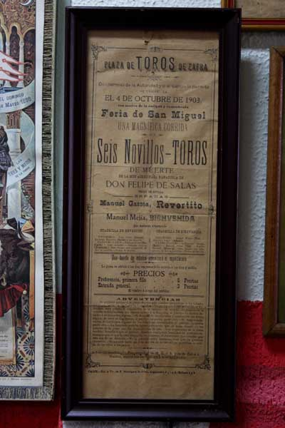 Cartel de 1903 de la plaza de toros de Zafra...