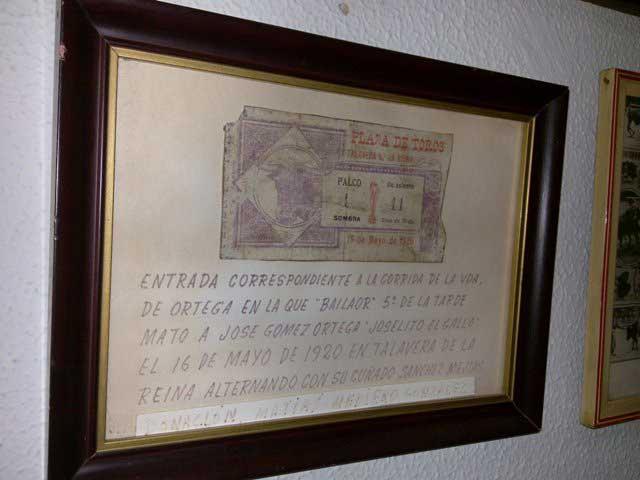 Entrada original de la tarde que 'Bailaor' mató a Joselito en Talavera.