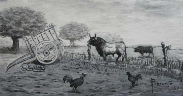 Bravura en el toro y en los gallos. (Cuadro de Fernando Naranjo)