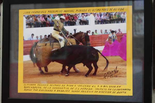 Juan Francisco Presumido picando al último toro de su vida la tarde que falleció en Barcarrota, inmortalizado por Fernando Masedo Torres.