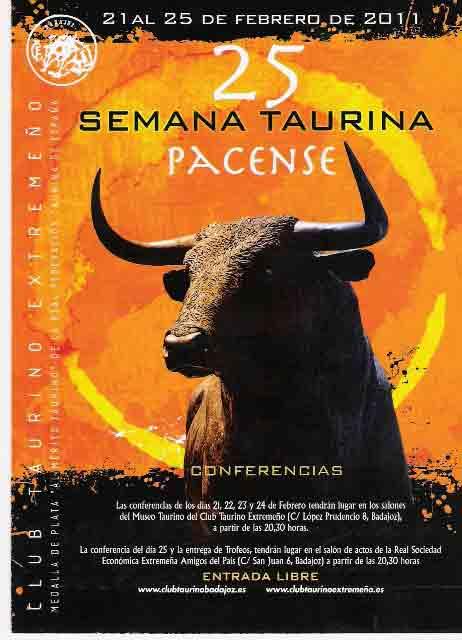 Cartel anunaciador de la 25ª Semana Taurina Pacense.