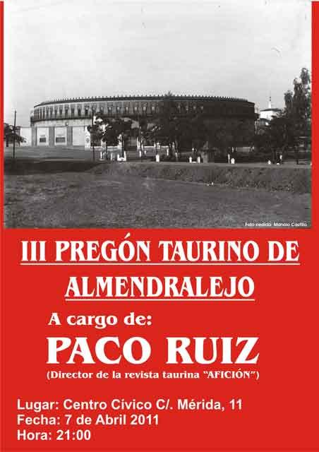 Cartel anunciador del Pregón Taurino de Almendralejo.