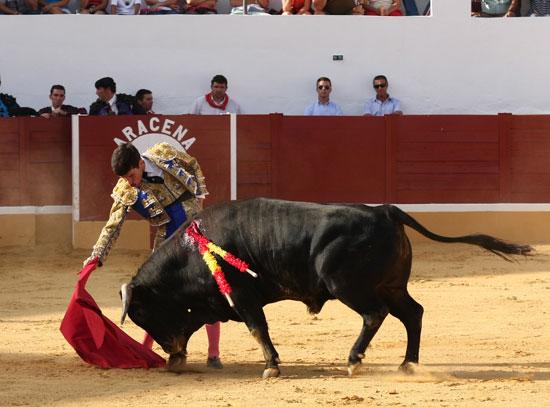 Tomás Campos tirando de su primero.