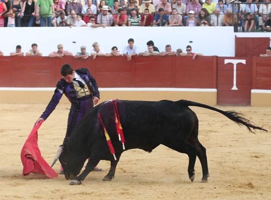 Derechazo de 'El Zorro' al quinto. (FOTO: Gallardo)