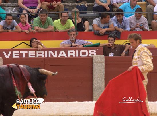 El veterinario José León pendiente de la lidia.