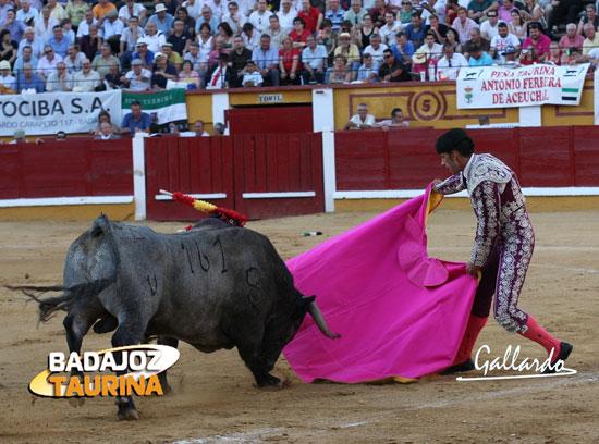 Lidiando el primer victorino de su vida en la encerrona de Badajoz. (FOTO: Gallardo)