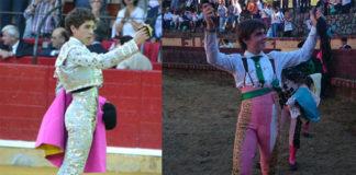 Ginés Marín y Antonio Medina, con los trofeos cortados esta tarde. (FOTOS:toroszaragoza.com/CEDIDA)