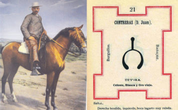 Juan Contreras a caballo con su finca La Giralda de fondo