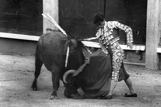 Luis Reina en Madrid dando un trincherazo a un santacoloma