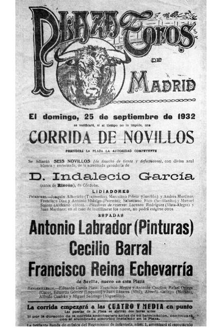 Cartel de Madrid en el que se anuncia a su padre