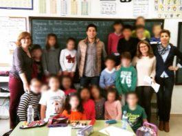 David Bolsico en su encuentro con los alumnos del Colegio de Higuera la Real