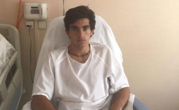 Luis Manuel Terrón en la habitación donde se recupera de la cornada sufrida en Las Ventas