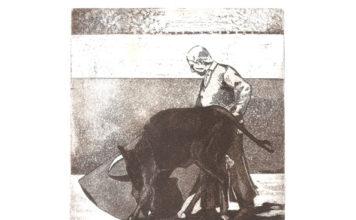 Grabado de Ángel Luis Bienvenida, obra de Mariano Cobo