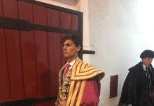 El alumno Carlos Domínguez a punto de hacer el paseíllo en Vila Franca de Xira