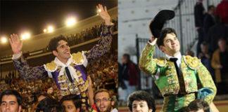 Alejandro Talavante y José Garrido en sendas imágenes de archivo