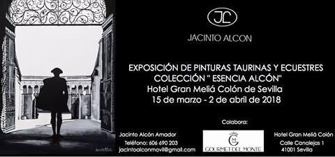 Cartel de la muestra de Jacinto Alcón en el Hotel Colón de Sevilla