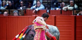 Sevilla durane la lidia de uno de los victorinos que le tocaron en suerte (FOTO:Toromedia)