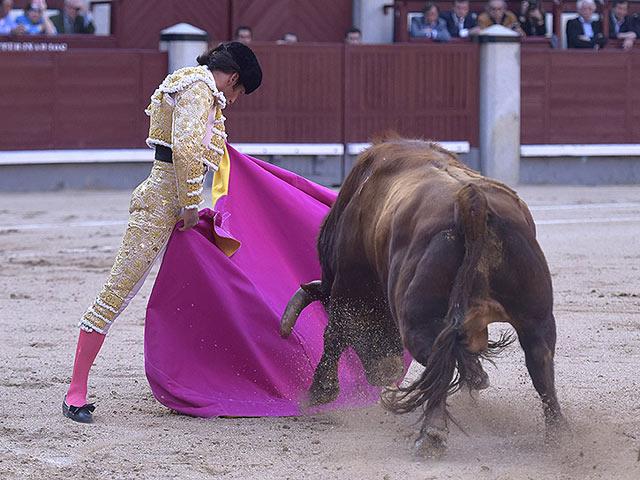 José Garrido lanceando a su primer Fuente Ymbro (FOTO: Julián López)