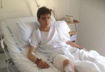 Sebastián Marín tras ser intervenido de la cornada sufrida en Portugal