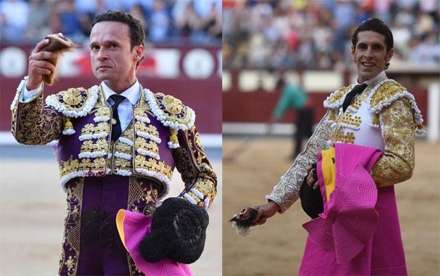 Antonio Ferrera y Alejandro Talavante con sus respectivas orejas (FOTO: Javier Arroyo-Aplausos.es)