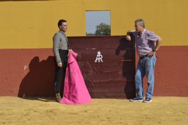 Con José Real, su inseparable compañero de fatigas.