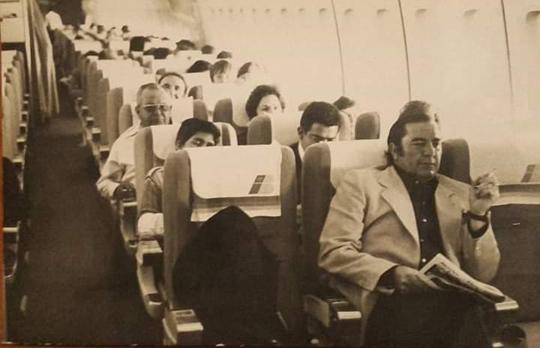 Jacinto Alcón en uno de los muchos viajes transoceánicos que realizó durante su etapa como apoderado y empresario