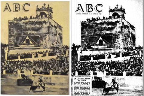 Dibujo de Inmaculada Sánchez y la portada de ABC que recrea la pintora en su obra